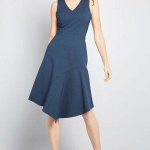 Modcloth Closet Blue Asymmetric Pone Knit Dress